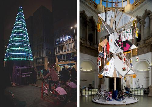 Gli alberi di Natale in Spagna (a sinistra) e in Inghilterra (a destra)