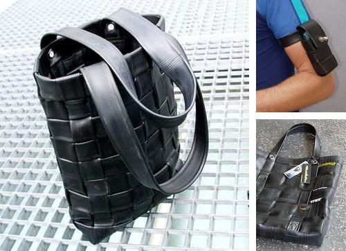 borsa realizzata con coppertoni bici riciclati