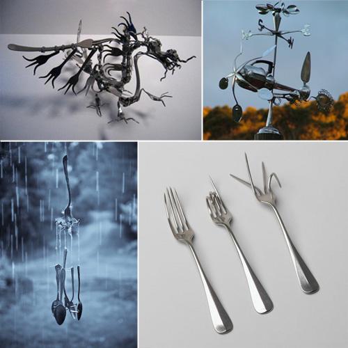 Super Coltelli, forchette e cucchiai. Riuso creativo delle posate  XD82