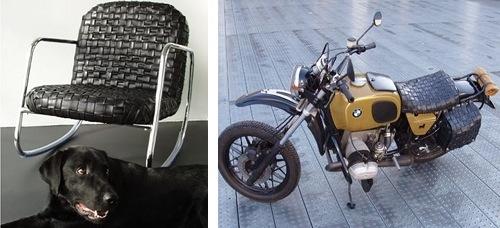 Poltroncina e accessori per motocicletta fatti con vecchie camere d'aria
