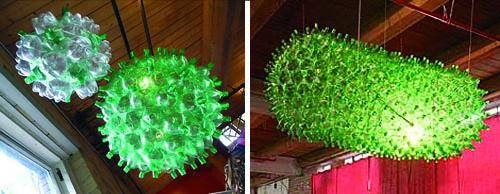 Luci di PET, le lampade fatte con bottiglie di plastica.  Marrai a Fura