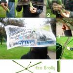 <b>Eco-brolly. </b><br />L'ombrello nudo, fatto con vecchi giornali o buste di plastica
