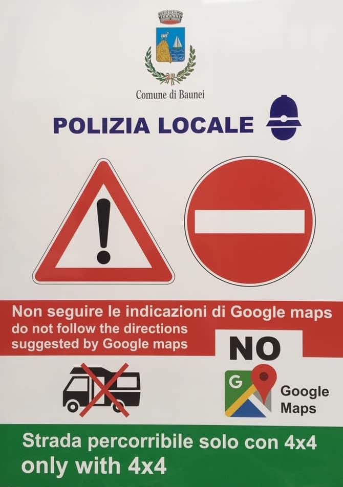 Il cartello anti Google Maps del Comune di Baunei